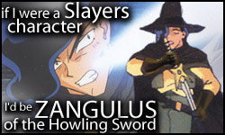 If I were a Slayers character, I'd be Zangulus!  Who would you be?